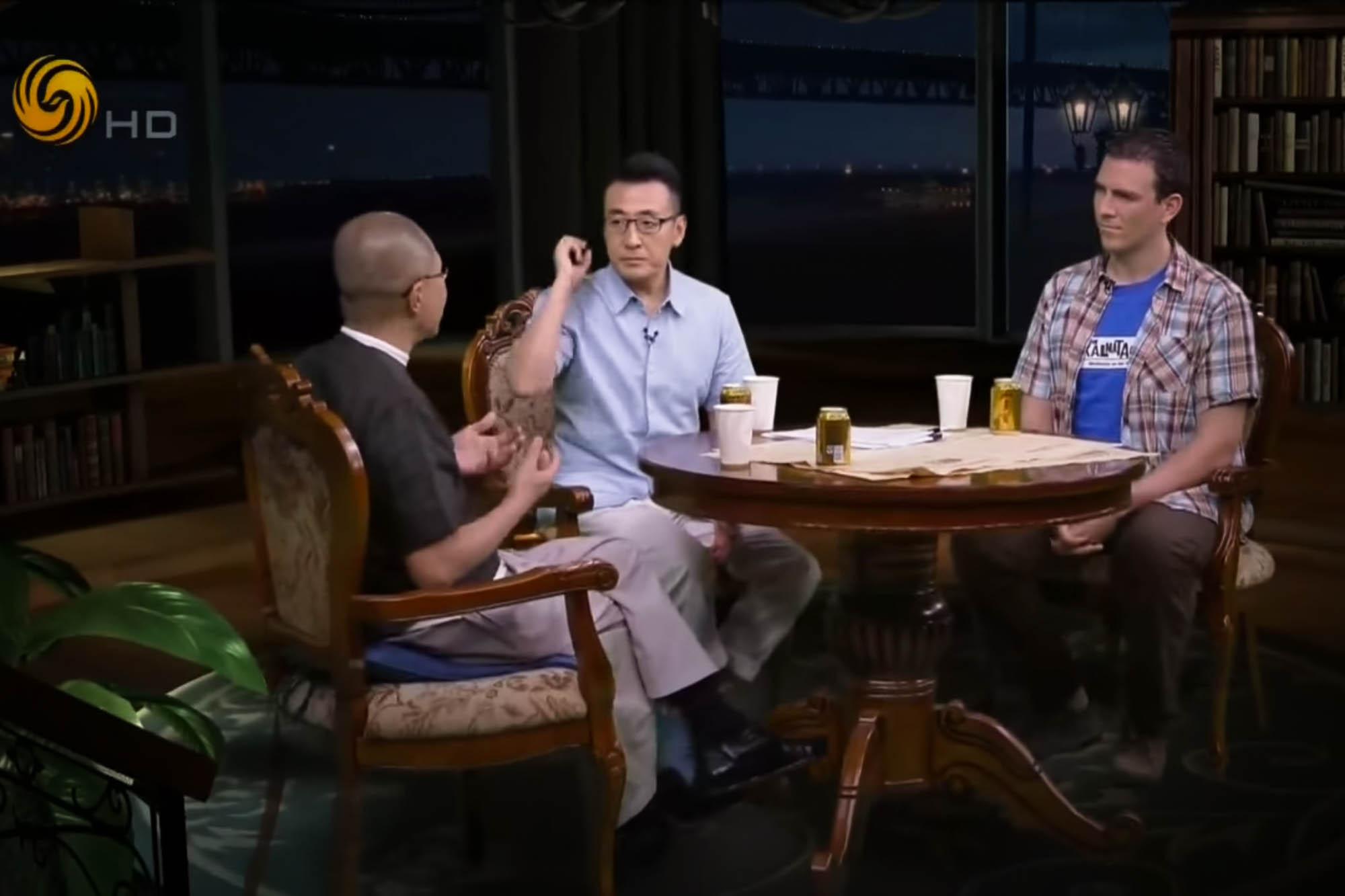 Christoph Rehage mit Dou Wentao und Liang Wendao